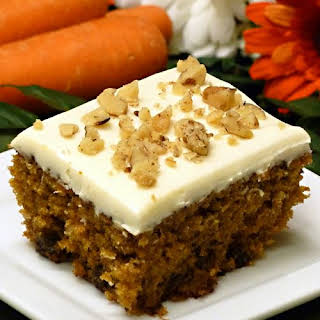 Spiced Carrot Raisin Cake with Cream Cheese Frosting.