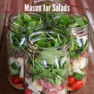 Beef and Cheddar Mason Jar Salad.