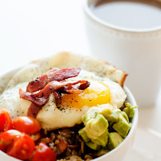 Savory Oatmeal Bowl with Bacon, Avocado & Fried Egg
