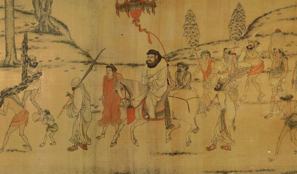 Foreign envoys with tribute bearers, as depicted in a later copy of a Tang-Dynasty scroll.