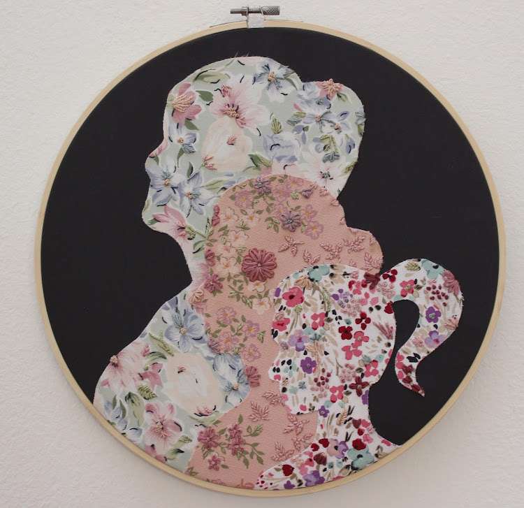 Mieke Janse van Rensburg's 'Lillian, Lynette and Me' is made from fabric and embroidery