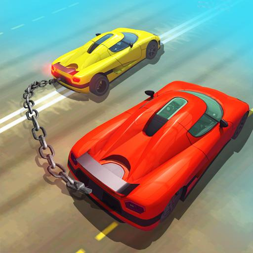 Chained Cars Against Ramp 3D