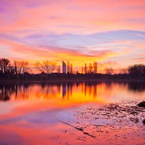 Vienna Alte Donau Sunset by Frederik Schulz - Landscapes Sunsets & Sunrises ( wien, vienna, danube, austria )