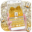 Gold glitter bowknot keyboard icon