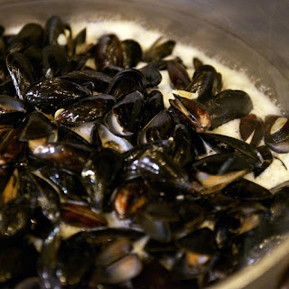 Steamed Mussels in Beer Broth.