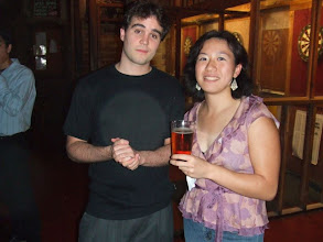 Photo: Nate and Frances holding Nate's beer