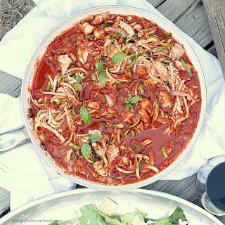 Zucchini Pasta In Marinara Sauce.