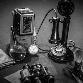 Journey by Michael Haagen - Black & White Objects & Still Life ( b&w, phone, watch, still life, camera )