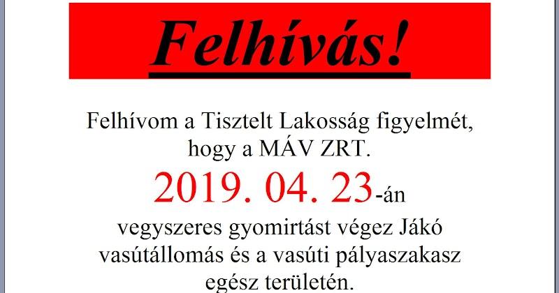 2019. 04. 23-án vegyszeres gyomirtás Jákó vasútállomás és a vasúti pályaszakasz egész területén
