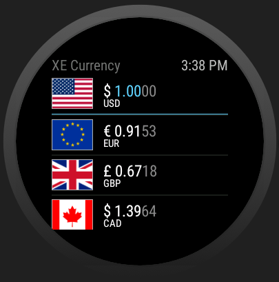 XE Currency – zrzut ekranu