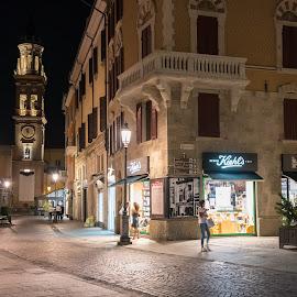 Parma by Tomasz Karasek - City,  Street & Park  Night ( street, night, old town, parma, italy )