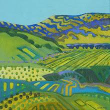 "Photo: ""Round Valley Rhythms"", acrylic on canvas, 12"" x 12"" by Nancy Roberts, © 2016"