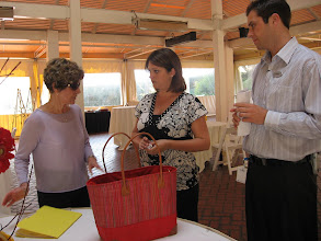 Photo: Nancy Montgomery Gilmour conferring with hotel staff