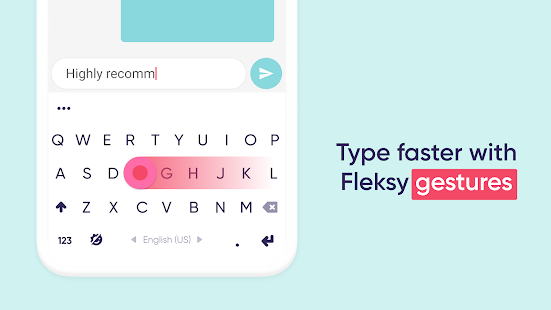 Эргономичная клавиатура Fleksy -Emoji Keyboard GIF Screenshot