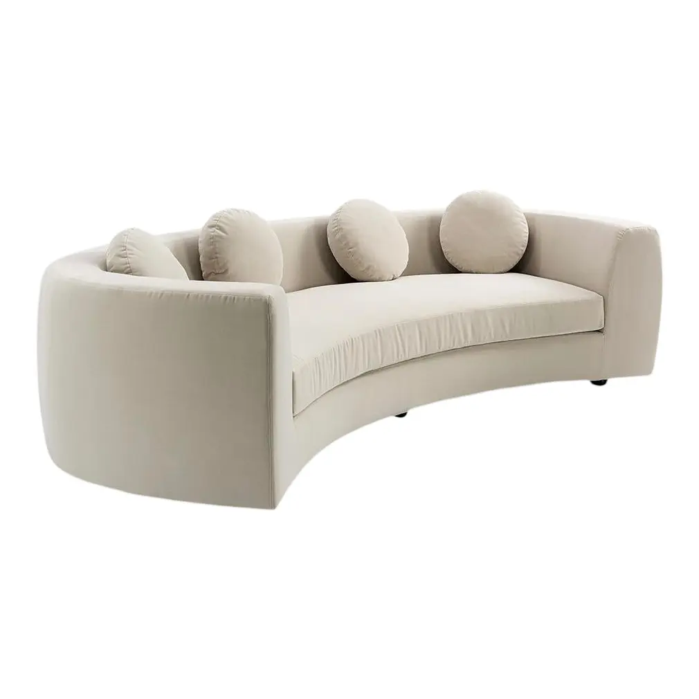 Curved sofa with beige upholstery; Interior design trends 2021; MGSD