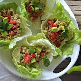 Cilantro-Lime Turkey Taco Lettuce Wraps.