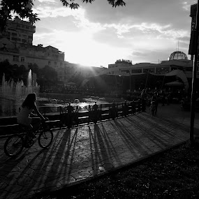 happy bicycle by Star Steel - Black & White Street & Candid