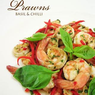 Stir Fried Prawns with Basil & Chilli
