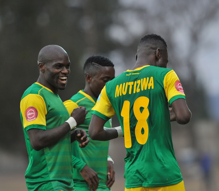 Knox Mutuzwa of Golden Arrows celebrates goal with teammates during the Absa Premiership match Maritzburg United and Golden Arrows on the 05 August 2018 at Harry Gwala Stadium.