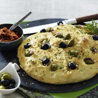 Olive and Anchovy Focaccia with Sun Dried Tomato Pesto.