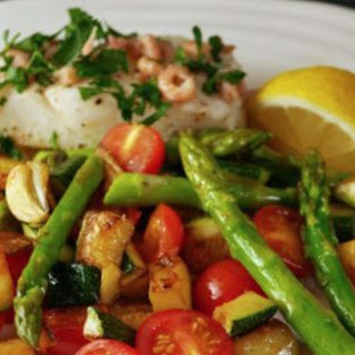 Cod with Brown Shrimps and a Medley of Summer Vegetables Recipe