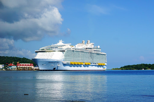 DSC04201.jpg - Symphony of the Seas looking very royal docked at Roatan, Honduras.