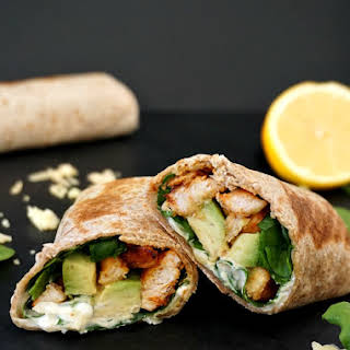 Grilled Chicken, Avocado And Spinach Wholemeal Wrap.