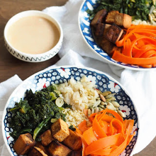 Sweet & Spicy Tofu Millet Bowl with Garlicky Kale