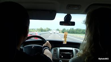 """Photo: Put počinje, subota 23.07. ujutro, prema Chamonixu unajmljenim kobijem, za volanom Roby - """"hell of the driver"""" :)"""