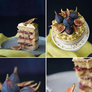 Fig Pistachio Cake w Orange Cream Frosting.