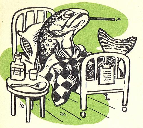 50's Vintage Michigan Fishing Artwork Sick Fish