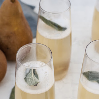Pear + Ginger-Sage Champagne Cocktails