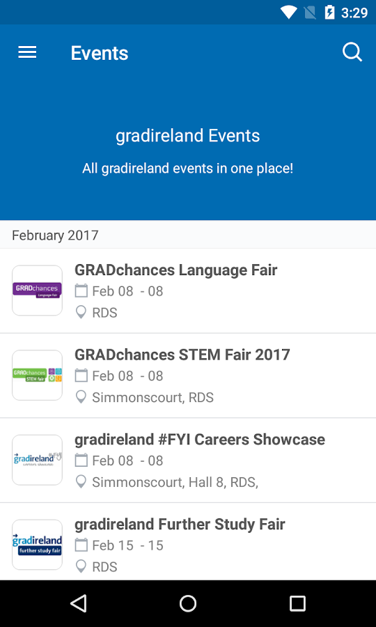 gradireland Events- screenshot