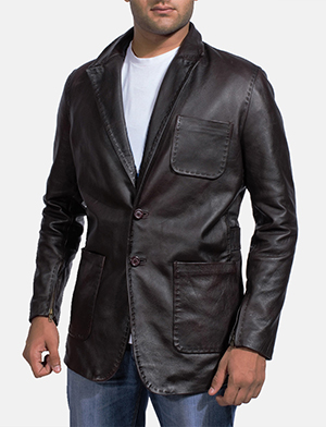 Wine Black Leather Blazer