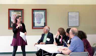 Photo: Faith Bartz moderates the environmental stressors and benefits panel on Tuesday, Sept. 20, 2016. Participants included Muni Muniappan, Virginia Tech; Stephanie Yarwood, University of Maryland; Edna Makule, Nelson Mandela Africa Institute for Science and Technology; Maxine Levin, USDA-NCRS; and John Dickie, Kew Gardens.