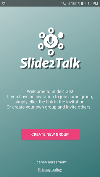 Slide2Talk: intercom / walkie-talkie