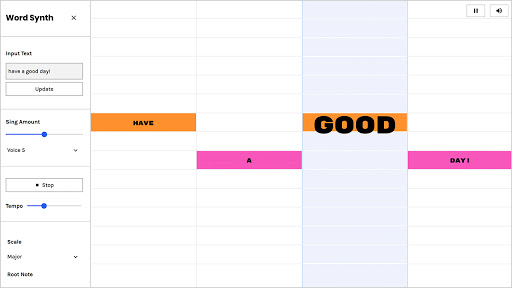 """The words """"have a good day"""" in a grid with each word at a different height and color."""