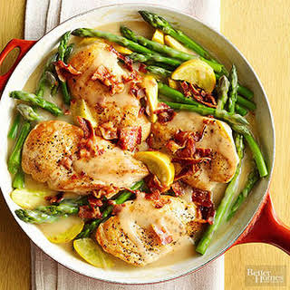 Chicken and Asparagus Skillet Supper.
