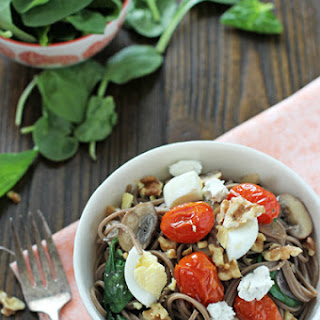 Soba Noodles with Roasted Tomatoes, Mushrooms and Eggs