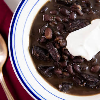 Pressure Cooker Black Bean Soup With Sausage and Cumin-Lime Sour Cream.