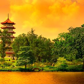 Singapore pagoda by Ben Heys - City,  Street & Park  City Parks ( water, clouds, stream, pagoda, vivid, japanese, landscape, dusk, singapore, chinese, asian, temple, dawn, japan, sky, nature, sunset, asia, trees, sunrise, china, river )