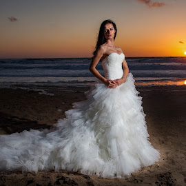 Bride at Sunset by Brian Pierce - People Portraits of Women ( portreath, portfolio, sunset, beach, wedding, portrait,  )