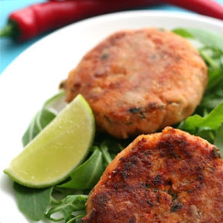 Sweet Potato and Salmon Fishcakes with Chilli and Lime.