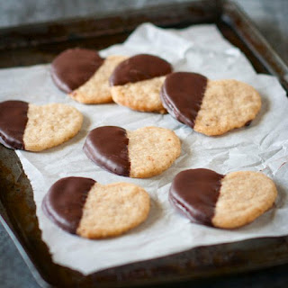Chocolate-Dipped Walnut Shortbread Cookies.