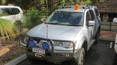 Photo: The Silverado Truckosaurus with it's appropriate warning lights!