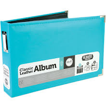 We R Memory Keepers Classic Leather Ring Photo Album 12X8 - Aqua UTGÅENDE