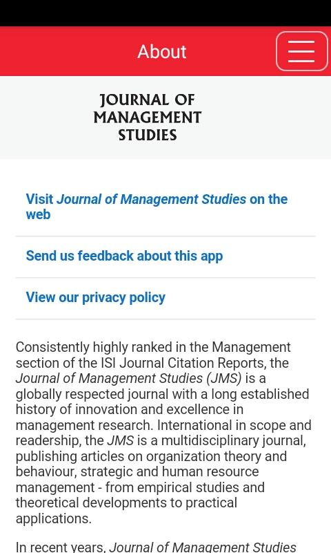 Journal of Management Studies- screenshot
