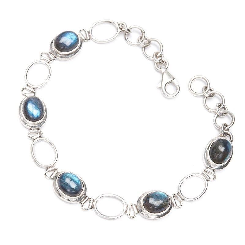 Labradorit, armband med ovala stenar i silver