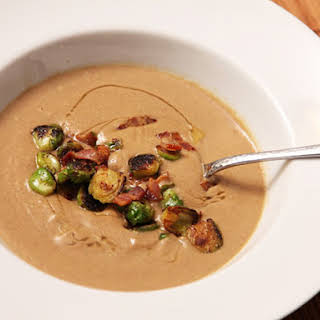 Brown Butter-Sunchoke Soup With Brussels Sprouts and Bacon.