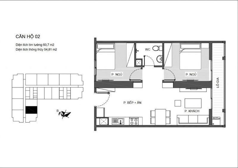 Thiết kế căn hộ 2 PN (1WC) chung cư An Bình Plaza ( căn hộ thông thường với 1 logia lớn)
